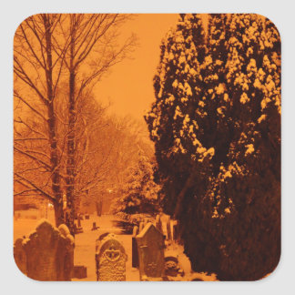 Graveyard in the snow square sticker