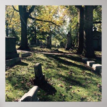 Halloween Themed Graveyard Scene Poster