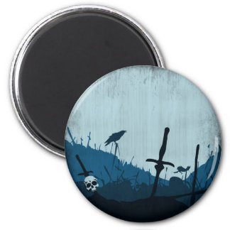 Graveyard with Skulls and Ravens 2 Inch Round Magnet