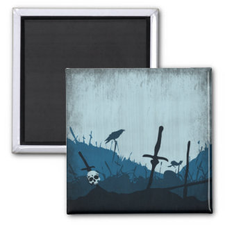 Graveyard with Skulls and Ravens 2 Inch Square Magnet