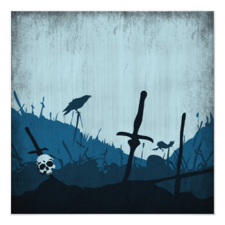 Graveyard with Skulls and Ravens 5.25x5.25 Square Paper Invitation Card