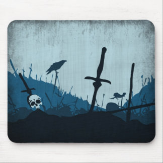 Graveyard with Skulls and Ravens Mouse Pad