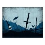 Graveyard with Skulls and Ravens Postcard