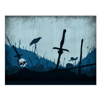 Graveyard with Skulls and Ravens Postcard