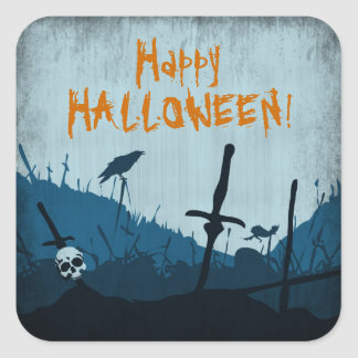 Graveyard with Skulls and Ravens Square Sticker