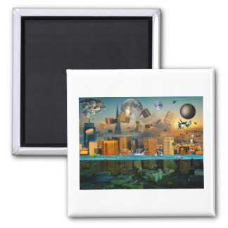 Gravity Confusion City Under Siege 2 Inch Square Magnet