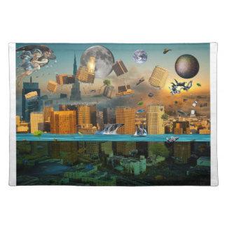 Gravity Confusion City Under Siege Cloth Placemat