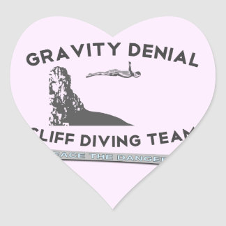 Gravity Denial Cliff Diving Team Heart Stickers