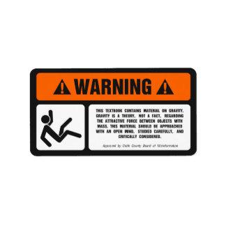 Gravity Disclaimer Label