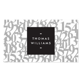 Gray Abstract Numbers for Accountants, Accounting Business Card