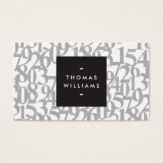 Gray Abstract Numbers for Accountants, Accounting Business Card at Zazzle