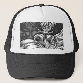 Gray Abstract Spiky Flowers Art Depth Swirls Trucker Hat