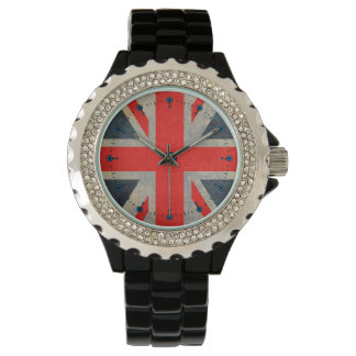 Gray Accented Union Jack Black Enamel Watch