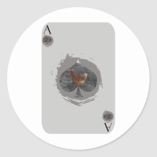 Gray Ace of Spade Chicken Classic Round Sticker