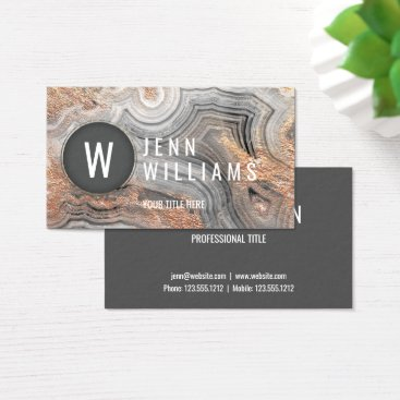 Professional Business Gray agate geode modern crystal business card rose