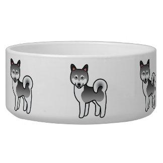 Gray Alaskan Klee Kai Dog Cartoon Illustration Bowl