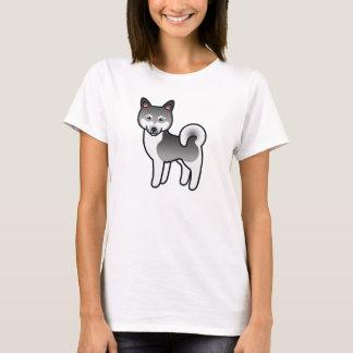 Gray Alaskan Klee Kai Dog Cartoon Illustration T-Shirt