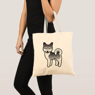 Gray Alaskan Klee Kai Dog Cartoon Illustration Tote Bag