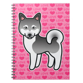 Gray Alaskan Klee Kai Dog Love Illustration Pink Notebook