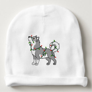 Gray Alaskan Malamute with Christmas Lights Baby Beanie