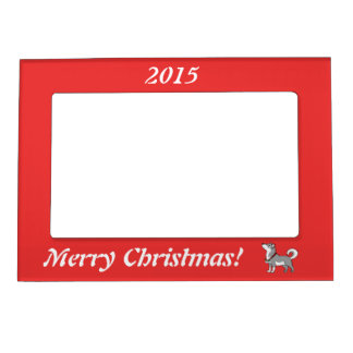 Gray Alaskan Malamute with Silver Jingle Bells Magnetic Frame
