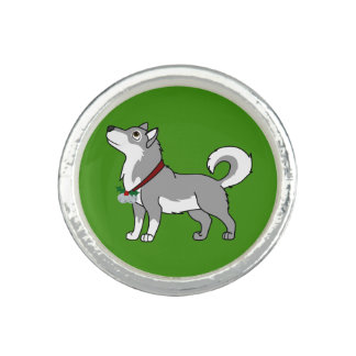 Gray Alaskan Malamute with Silver Jingle Bells Photo Ring