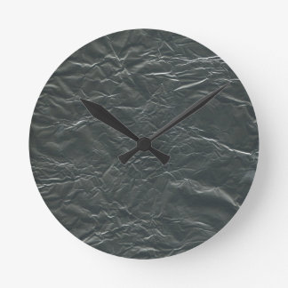 GRAY ALUMINUM FOIL WRINKLED BACKGROUNDS WALLPAPERS ROUND CLOCK
