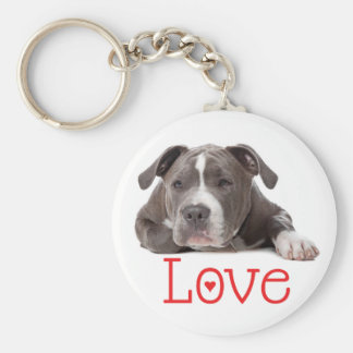 Gray American Staffordshire Terrier  Puppy Dog Keychain