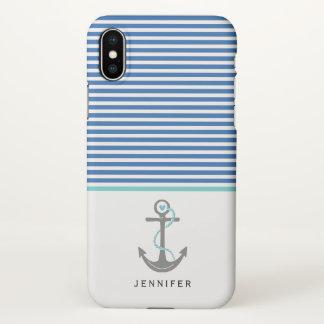 Gray anchor and blue white stripes aqua nautical iPhone x case