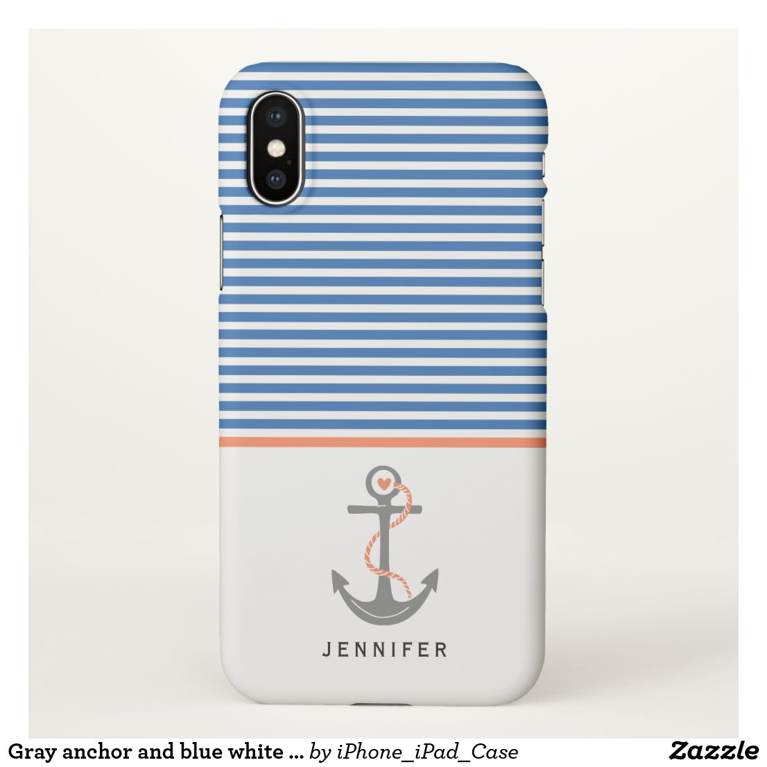 Gray anchor and blue white stripes coral nautical