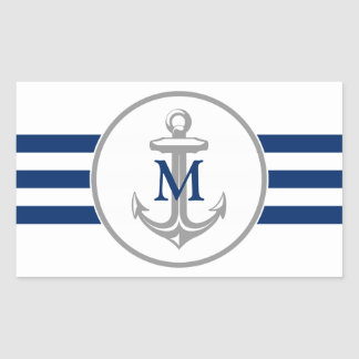 Gray Anchor and Monogram Sticker