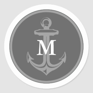 Gray Anchor Monogrammed Sticker