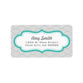 Gray and Aqua Asian Pattern Personalized Address Label