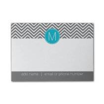 Gray and Aqua Blue Chevrons with Custom Monogram Post-it Notes