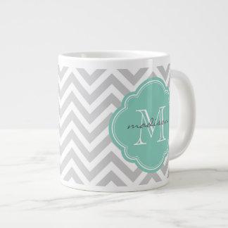 Gray and Aqua Chevron Custom Monogram 20 Oz Large Ceramic Coffee Mug