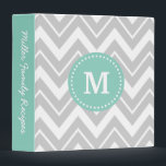 """Gray and Aqua Chevron Custom Monogram Binder<br><div class=""""desc"""">Cute girly preppy zigzag chevron pattern with your custom personalized monogram name or initial and personalized text on the spine. Click Customize It to change text fonts and colors to create your own unique one of a kind design.</div>"""