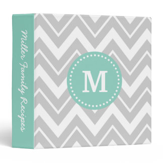 Gray and Aqua Chevron Custom Monogram Binder