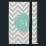 "Gray and Aqua Chevron Custom Monogram Case For iPad Mini<br><div class=""desc"">Cute Girly Trendy Chic Girly Modern Chevron Stripes Zigzag Pattern with Custom Personalized Monogram Initial Printed on a Moroccan Quatrefoil Shape Frame</div>"