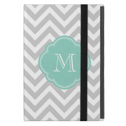 Gray and Aqua Chevron Custom Monogram Case For iPad Mini
