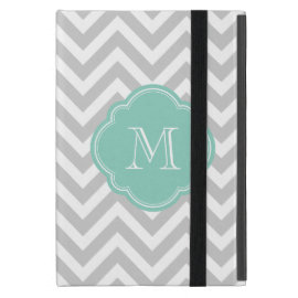 Gray and Aqua Chevron Custom Monogram Covers For iPad Mini