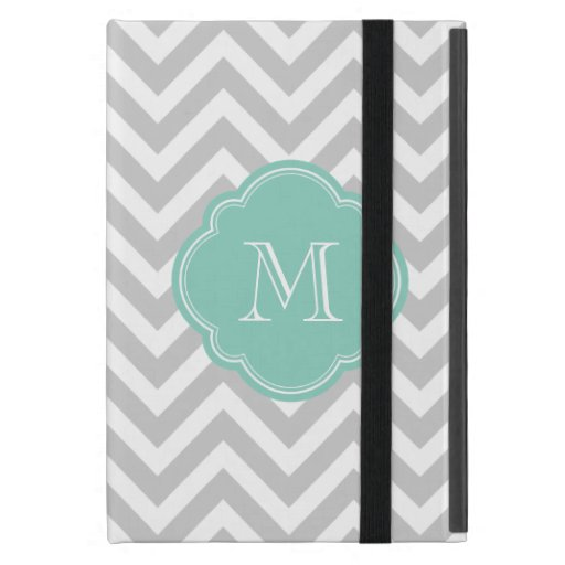 Gray and Aqua Chevron Custom Monogram Covers For iPad Mini
