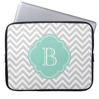 Gray and Aqua Chevron Custom Monogram Laptop Sleeve