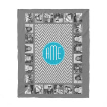 Gray and Aqua Chevron Pattern with Modern Monogram Fleece Blanket