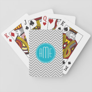 Gray and Aqua Chevron Pattern with Modern Monogram Deck Of Cards