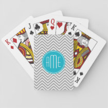 Gray and Aqua Chevron Pattern with Modern Monogram Playing Cards