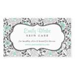 Gray and Aqua Floral Damask Appointment Double-Sided Standard Business Cards (Pack Of 100)