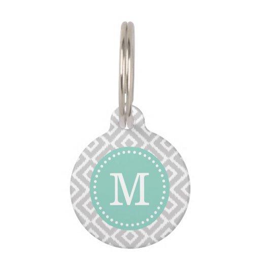 Gray and Aqua Ikat Diamonds Monogram Pet Name Tags