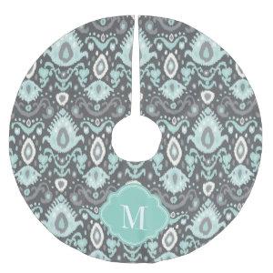 Gray and Aqua Ikat Monogram Brushed Polyester Tree Skirt