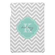 Gray and Aqua Modern Chevron Custom Monogram Case For The iPad Mini