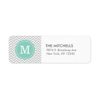 Gray and Aqua Modern Chevron Custom Monogram Label